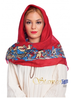 Greek Traditional Cotton Scarf of Doxato - Dramas