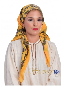 Greek Traditional Yellow Cotton Scarf
