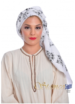 Greek Traditional White Cotton Scarf