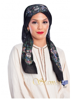 Greek Traditional Black Cotton Scarf