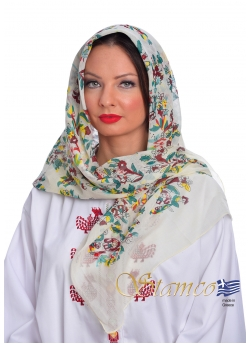 Greek Traditional Cotton Scarf of Attica - Αthens