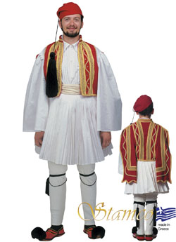 Traditional Evzonas Man Red Costume