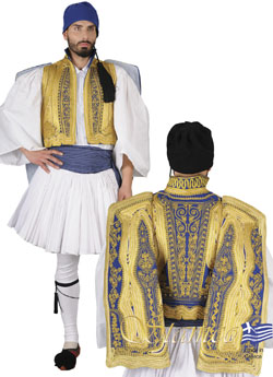 Traditional Evzonas Gold Embroidered Costume